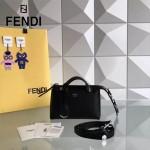FENDI 7133S 專櫃新品黑色原版小牛皮搭配花朵尾巴手提單肩包波士頓包