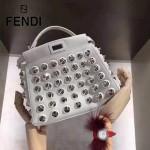 FENDI 8590 歐美朋克風白色原版小牛皮搭配玻璃圓錐形鉚釘手提單肩包