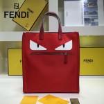 FENDI 8250 潮流新款小怪獸眼睛紅色原單尼龍面料配皮手提單肩包購物袋