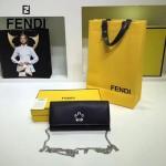FENDI 0251-4 專櫃新品黑色原版十字紋小牛皮釘花鉆單肩斜挎包晚宴包