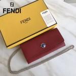FENDI 0251-3 專櫃新品紅色原版十字紋小牛皮釘花鉆單肩斜挎包晚宴包