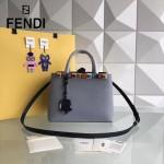 FENDI 253-3 春夏新品拼色原版小牛皮彩色亞克力鉚釘裝飾手提單肩包
