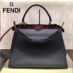 FENDI 5108M-2 簡約商務風拼色原版小牛皮電鍍五金手提單肩包