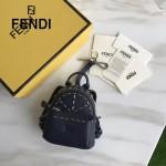 FENDI 239 專櫃限量版藍色原版小牛皮鉚釘設計迷你書包包包吊飾