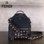 FENDI 5223S 朋克風新品黑色原版牛皮搭配金屬鉚釘mini背包單肩斜挎包