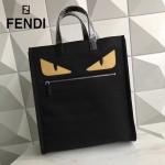 FENDI 8250-2 潮流新款小怪獸眼睛黑色原單尼龍面料配皮手提單肩包購物袋
