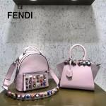 FENDI 333 名媛必備MINI 3JOURS粉色原版小牛皮亞克力花朵裝飾手提單肩包
