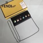 FENDI 0251-7 春夏新款黑色原版牛皮有機玻璃鉚釘多功能斜挎包