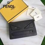 FENDI 351-2 商務精英小怪獸眼睛黑色原版皮手工縫線休閒手拿包