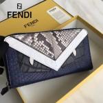 FENDI 0213-2 高貴奢華CRAYONS原單小怪獸眼睛鱷魚紋搭配環繞式蟒蛇皮拉鏈長款錢包