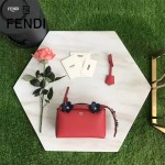 FENDI 8133BS-2 甜美可人紅色原版小牛皮彩色花朵尾巴裝飾手提單肩包波士頓包