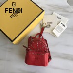 FENDI 239-2 專櫃限量版紅色原版小牛皮鉚釘設計迷你書包包包吊飾