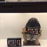 FENDI 3346-2 夏季新款黑色原版小牛皮搭配彩色亞克力鉚釘單肩斜挎包晚宴包