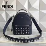 FENDI 5223S-2 朋克風新品藍色原版牛皮搭配金屬鉚釘mini背包單肩斜挎包