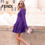 FENDI 1765-2 歐美新款粉色原版牛皮亞克力鉚釘裝飾手提單肩包馬鞍包