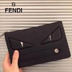 FENDI 351 商務精英小怪獸眼睛黑色原版皮手工縫線休閒手拿包