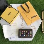 FENDI 3346-3 夏季新款咖啡色原版小牛皮搭配彩色亞克力鉚釘單肩斜挎包晚宴包