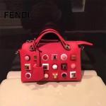 FENDI 9133-6 人氣熱銷紅色原版牛皮彩色亞克力鉚釘手提單肩包波士頓包