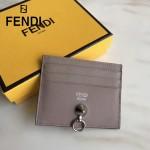 FENDI 0269-2 精緻小巧灰色原版牛皮金屬鉚釘6卡位卡片夾