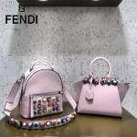 FENDI 5223S-3 朋克風新品粉色原版牛皮搭配金屬鉚釘mini背包單肩斜挎包