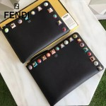 FENDI 0365-5人氣熱銷黑色原版小牛皮彩色亞克力鉚釘大小號拉鏈手拿包