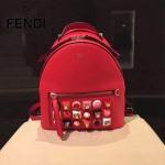 FENDI 3223S-2 夏季新品紅色原版南非小牛皮搭配金屬鉚釘休閒雙肩包書包