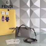 FENDI 7133S-2 專櫃新品灰色原版小牛皮搭配花朵尾巴手提單肩包波士頓包