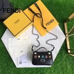 FENDI 1765-4 歐美新款黑色原版牛皮彩色亞克力鉚釘裝飾手提單肩包馬鞍包