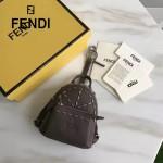 FENDI 239-3 專櫃限量版灰色原版小牛皮鉚釘設計迷你書包包包吊飾