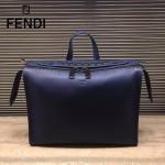 FENDI 2523-2 都市型男藍色原版牛皮手把鉚釘手提單肩包公文包
