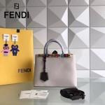FENDI 253-4 春夏新品拼色原版小牛皮彩色亞克力鉚釘裝飾手提單肩包