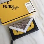 FENDI 0213 高貴奢華CRAYONS原單小怪獸眼睛鱷魚紋搭配環繞式蟒蛇皮拉鏈長款錢包