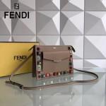 FENDI 0367 春季最新款女士裸色原版牛皮彩色亞克力鉚釘單肩斜挎包
