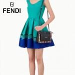 FENDI 0367-2 春季最新款女士黑色原版牛皮彩色亞克力鉚釘單肩斜挎包