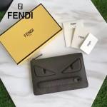 FENDI 351-3 商務精英小怪獸眼睛軍綠色原版皮手工縫線休閒手拿包