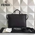 FENDI 2523-3 都市型男黑色原版牛皮手把鉚釘手提單肩包公文包