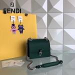 FENDI 0381-8 早春新款KAN I墨綠色原版水軟牛皮鉚釘搭扣單肩斜挎包