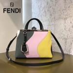 FENDI 253A-13專櫃早春新款拼色原版西班牙牛皮金屬裝飾條手提單肩包