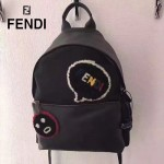 FENDI 2319 專櫃新品羊毛笑臉圖案原單黑色尼龍面料配牛皮休閒雙肩包