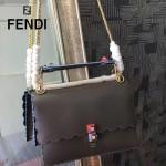FENDI 9145-4 春夏時裝秀KAN I灰色原版牛皮扇形邊設計手提單肩包