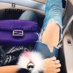 FENDI 7783 專櫃秀場新款BAGUETTE紫色原版小牛皮編織裝飾單肩小包