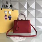 FENDI 253A-4 專櫃早春新款紅色原版西班牙牛皮琺瑯裝飾條手提單肩包