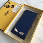 FENDI 0189-2 商務男士SELLERIA小怪獸眼睛貼片藍色原版牛皮長款西裝夾