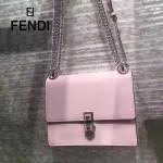 FENDI 0381-5 早春新款KAN I粉色原版水軟牛皮鉚釘搭扣單肩斜挎包
