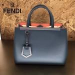 FENDI 253A-5 專櫃早春新款藍色原版西班牙牛皮琺瑯裝飾條手提單肩包