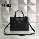 FENDI 567S-2 春季萌趣小雞表情貼花黑色原版西班牙牛皮手提單肩包