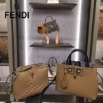 FENDI 567S 春季萌趣小雞表情貼花拼色原版西班牙牛皮手提單肩包