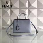 FENDI 253A-11 專櫃早春新款淺藍色原版西班牙牛皮琺瑯裝飾條手提單肩包