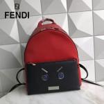 FENDI 266-2 型男必備無語表情貼片SELLERIA拼色原單牛津尼龍配牛皮休閒雙肩包