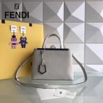 FENDI 253A-8 專櫃早春新款淺灰色原版西班牙牛皮琺瑯裝飾條手提單肩包